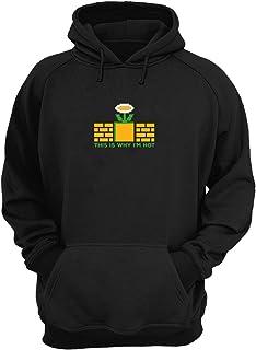 Super Mario Hot Game Geek Love Pixel Flower_KK016252 Hoodie Capucha Suéter Sweatshirt Divertido Funny Unisex Cotton - Black