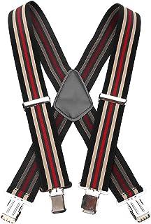Yosoo Men's 50mm Wide Suspenders 3 Style Gentles Plain Heavy Duty brace Elastic (Striped)