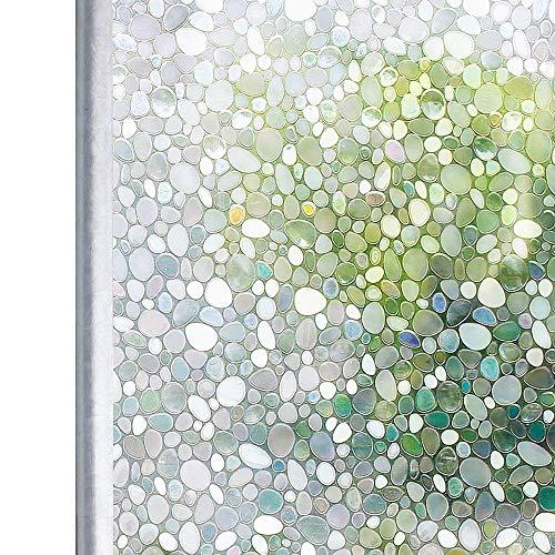 Homein 3D Fensterfolie Window Film selbstklebend Milchglasfolie Fenster Sichtschutzfolie Blickdicht Dekorfolie Glasaufkleber statisch Selbsthaftend ohne Kleber mit Motiv UV Schutz Kiesel 90 x 200 cm