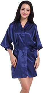 Women's Satin Short Kimono Robe Plain Dressing Gown Bathrobe Bridal Party Robe