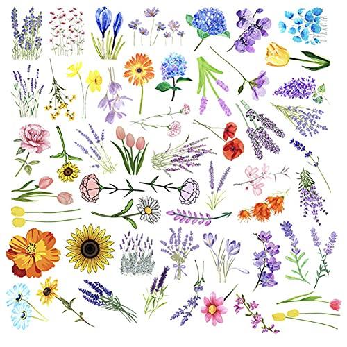 TAFLY Pegatinas de flores para manualidades, cumpleaños, scrapbooking, 50 hojas