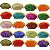 kilofly 20 pc Chinese Silk Embroidered Zipper Jewelry Bag Coin Purse Gift Pouch