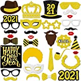 New Years Photo Booth Props 2021 – Pack of 33, Glitter| 2021 Photo Props for New Years Eve Party Supplies 2021 | New Years Eve Photo Booth Props for NYE Decorations | Happy New Year Decorations 2021