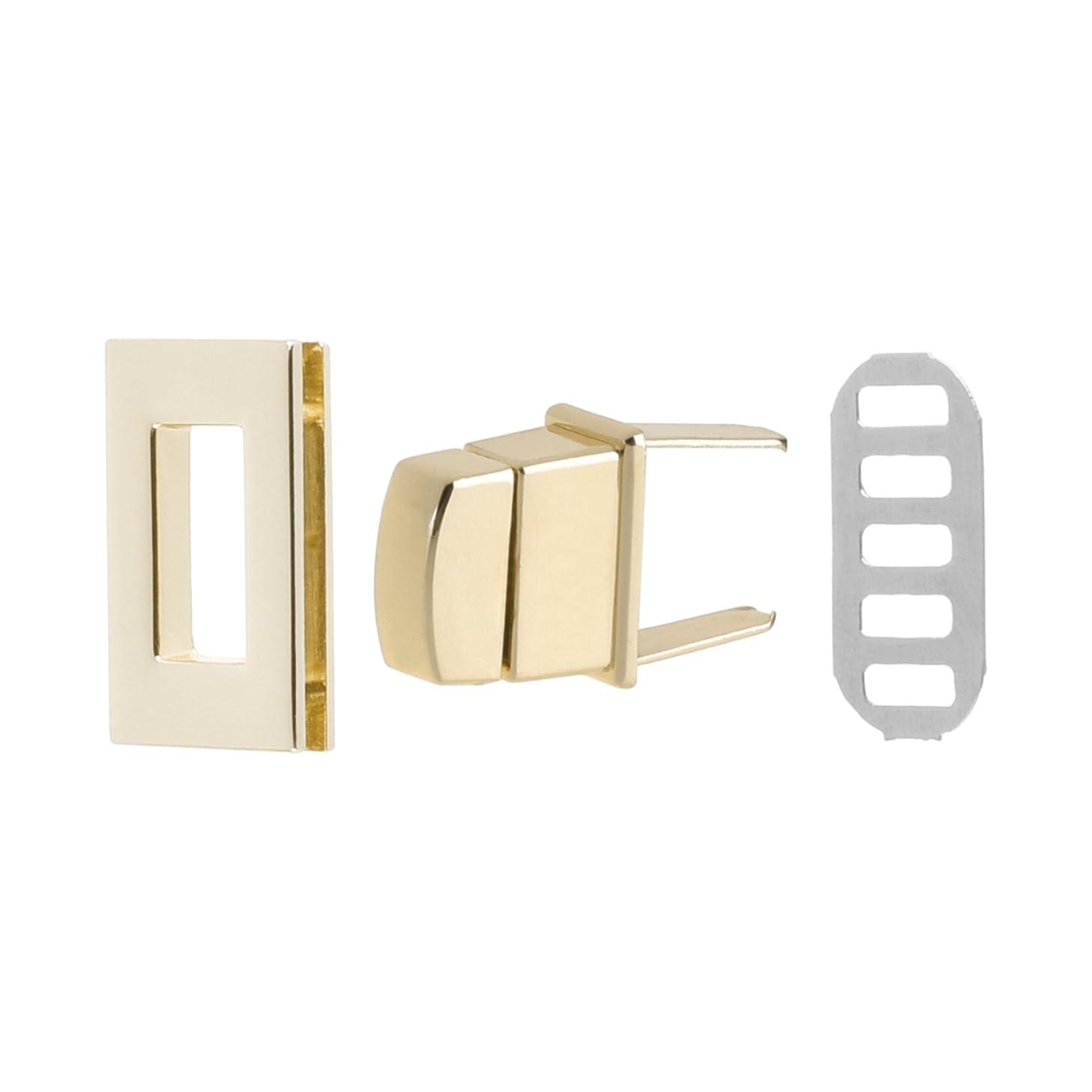 Bluecell 2 Sets Rectangle Turn Lock Clasp Purse Closure Twist Lock for Leathercraft Purse Luggage