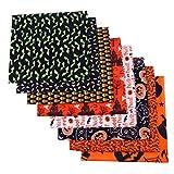8 Piezas Halloween Tela de Algodón Patchwork Tela por Metros Paquete de Tela Patrón Costura de Material Textil Manualidades para Coser DIY Bricolaje (50 cm x 50 cm)