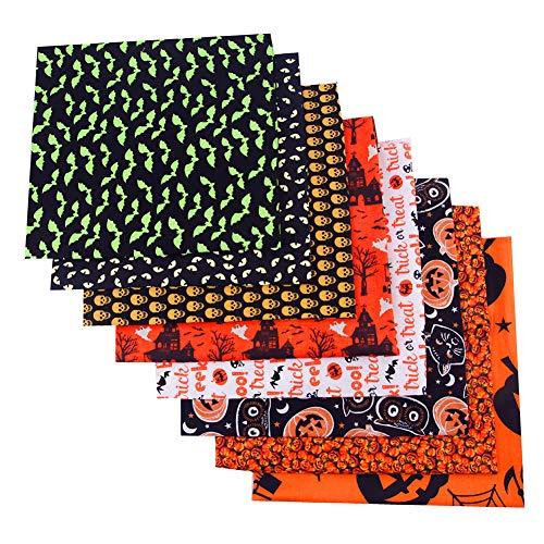 JEEBAY 8 Stück Halloween-Muster Baumwollstoff Meterware Stoffe Stoffreste Stoffpaket für Patchwork 100% Baumwolle DIY Baumwolltuch mit Multi-Farben mit Mustern zum Nähen Quilten (50 x 50cm)