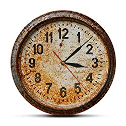 N /A Wall Clock Printing Acrylic Wall Clock Vintage Rusty Old Wall Clock Primitive Design Silent Horloge Hanging Round Needle Pared