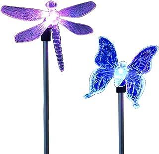comprar comparacion CISTWIN Paquete de 2 colores cambiantes óptica LED Solar Powered Dragonfly mariposa jardín Pathway luces linternas para pa...