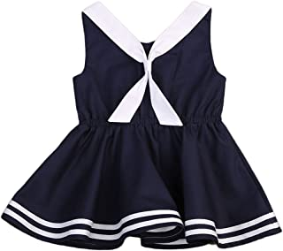 Infant Baby Toddler Girls Bowknot Sailor Stripe Marine Navy/Red Christmas Plaid Dress Onesie Outfit