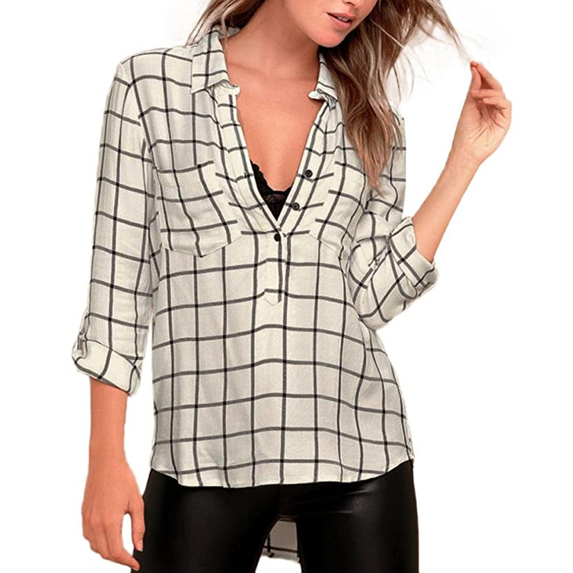 Women Blouse,IEason 2017 Hot Sale! Women Turn-Down Collar Long Sleeve Plaid Casual Blouse Tops T-Shirt (XL, Beige)