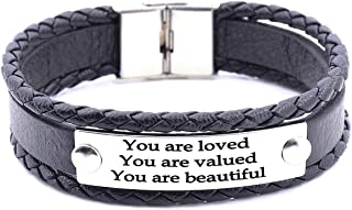 Inspirational Gifts for Women Saying Stamped You are Loved You are Valued You are Beautiful Stackable Wrap Leather Inspirational Bracelet,Multi-Layer Cuff Bangle.