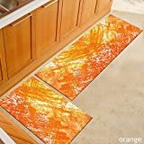 Fansu Tapis de Cuisine Paillasson d'Entrée Décoration Chambre à Coucher Salon, Lavable en Machine 3D Interieur Anti Slip Absorbant Multicolore (50 * 160cm,Orange)