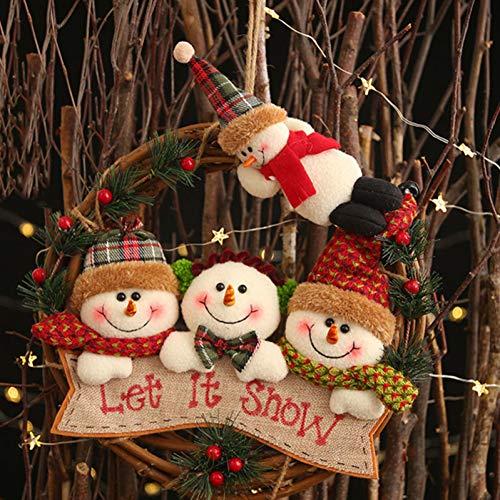 ZHUANGY Kerst Krans Flannel Kerstmis Rotan Kransen Hanger Hert Oude Man Sneeuwman Xmas Voordeur Hangend
