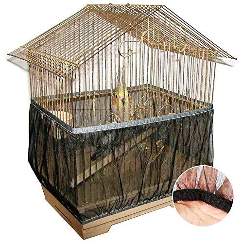 CAILI Jaula Protectora Guard Jaulas Accesorios,Cubierta para Jaula de pájaros, de Nailon Suave para Limpiar la Jaula de pájaros de la Mascota, Cubierta de Malla para Jaula de pájaros,Talla L (Negro)