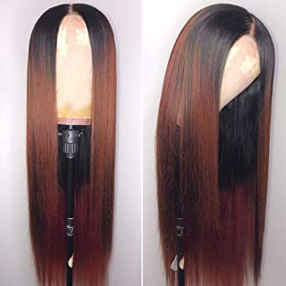 Andria Dark Root Ombre Brown Straight Hair Lace Front Wigs Two Tone Synthetic Long Silk Straight Wigs Heat Resistant Fiber Hair for Black Women 26 Inch 1b/#33