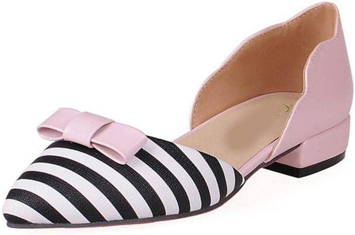 Houfeoans Women shoes Bownot High Heel Sandals Pointed Toe Striped Thick Heel Sandals Summer shoes Footwear