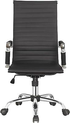 Meubletmoi – Silla de Oficina ergonómica Negro y Cromo – Asiento, diseño Moderno, Elegante