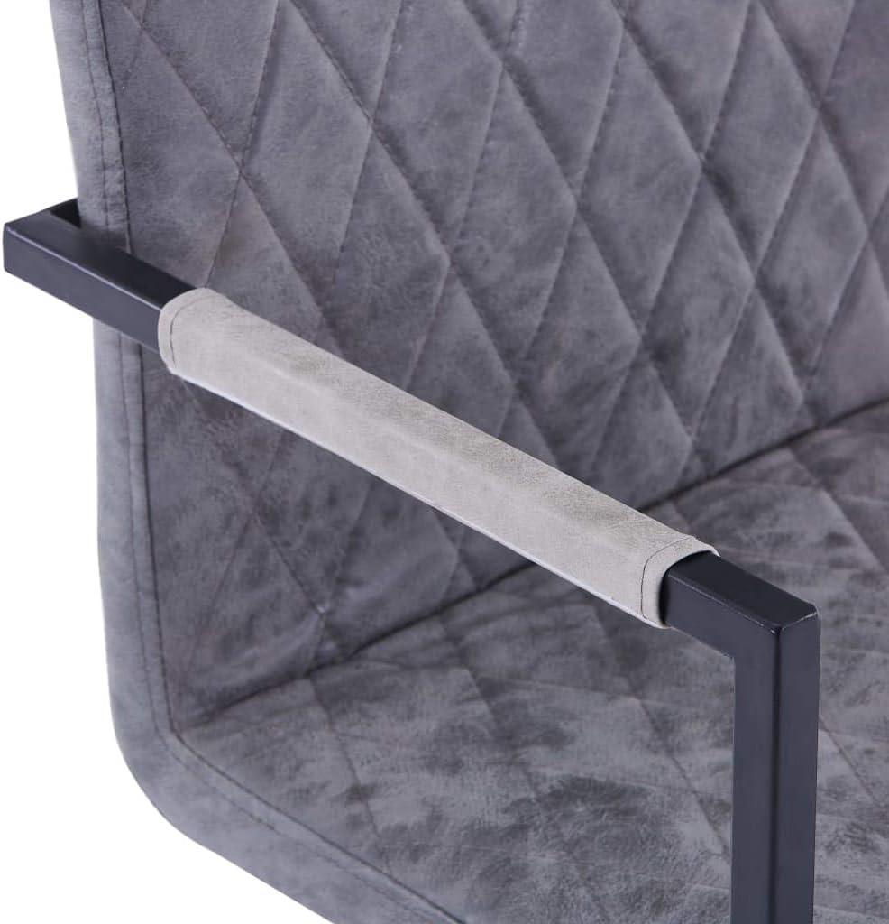 Tidyard Chaises de Salle à Manger Lot de 2   Chaises Salon Design Cantilever Marron Brillant Similicuir Gris Foncé
