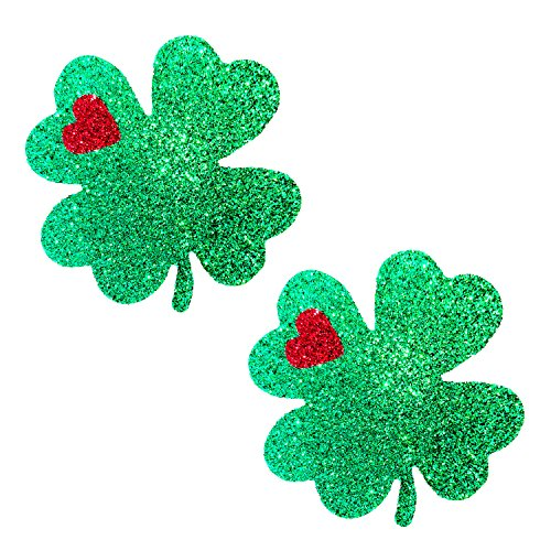 Neva Nude Kiss Me I'm Irish Green Glitter Nipztix Pasties Nipple Covers for Festivals, Raves, Parties, Lingerie and More, Medical Grade Adhesive, Waterproof and Sweatproof, Made in USA