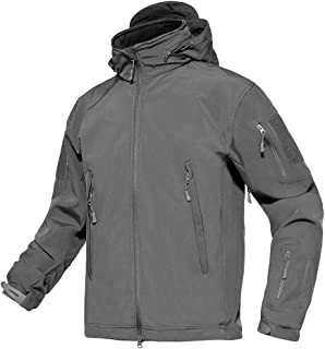 TACVASEN Men's Tactical Concealed Hooded Softshell Fleece Military Jacket Coat