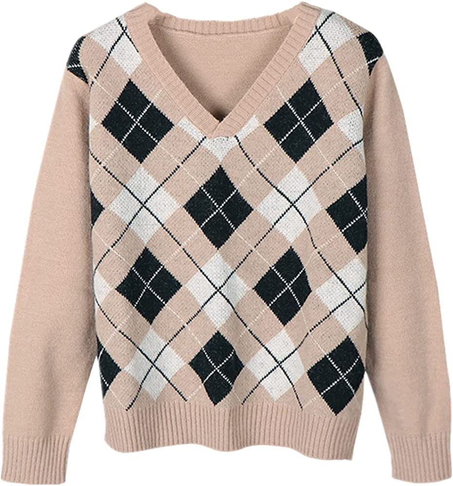 NP V Neck Sweater Women Autumn Casual Argyle Female Winter
