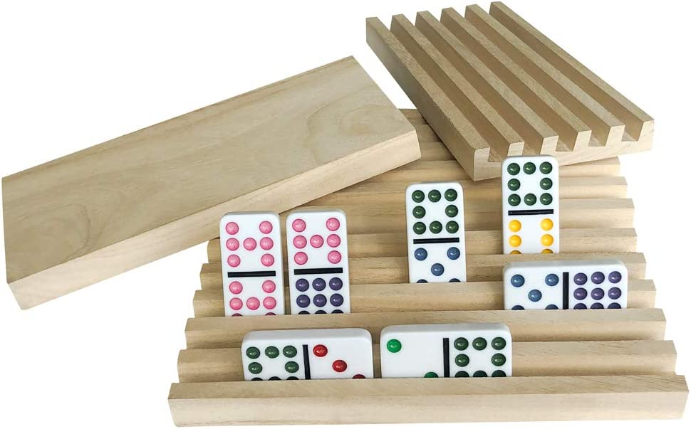 Yuanhe Set Tulsa Mall of 4 Solid Wood 25% OFF Rack Tiles Domi Domino Trays