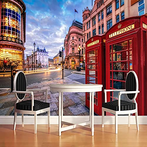 Papel tapiz Mural 3D London Street Cabina de teléfono roja Edificio de la ciudad Mural Sala de estar Restaurante Café Papel tapiz 250x175cm