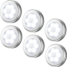 AMIR Motion Sensor Light, Cordless Battery-Powered LED Night Light, Stick-anywhere Closet Lights Stair Lights, Puck Lights, Safe Lights for Hallway, Bathroom, Bedroom, Kitchen, etc.(White - Pack of 6)