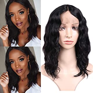 WIGNEE Lace Front Natural Wave Wigs Middle Part Brazilian Human Hair Wave Wigs Natural Black Color (12 Inch)