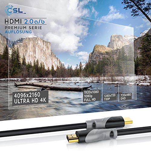 CSL - 0,5m - Ultra HD 4k HDMI Kabel 2.0b 60Hz 18GBit s - High Speed with Ethernet - Kabel 3 Fach geschirmt inkl. Stecker- und Kontaktschirmung - 4K Ultra HD 2160p Full HD 1080p - 3D ARC CEC