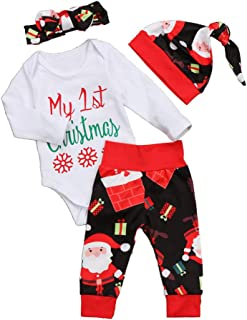 FTXJ 4 PCS Newborn Baby Girl Boy Letter Romper Tops+Pants Clothes Years Outfits Set