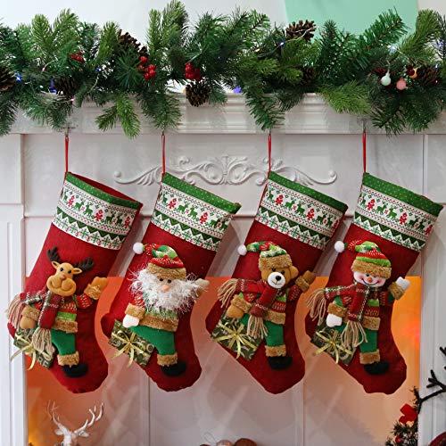 Houwsbaby Set di 4 calze di Natale Kit 3D Babbo Natale pupazzo di neve Orso Renna Calzini di lino Supporti Ornamento Sacchetti regalo per feste di Natale in famiglia, Rosso, 48CM (04)