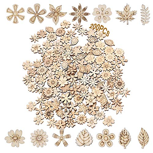 Naturholzscheiben Streudeko 200 Stücke Holz Streuteile Holz Blumen Scheiben Kleine Holzformen Holz Blätter Deko Holzscheiben Blumen Für Diy Handwerk Dekohänger Hochzeit Blatt Formen Dekoration