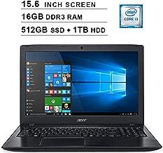2019 Acer Aspire E5 15.6 Inch FHD Laptop (8th Gen Intel Core i3-8130U up to 3.4 GHz, 16GB RAM, 512GB SSD (Boot) + 1TB HDD, Intel HD Graphics 620, DVD, WiFi, Bluetooth, HDMI, Windows 10 Home)