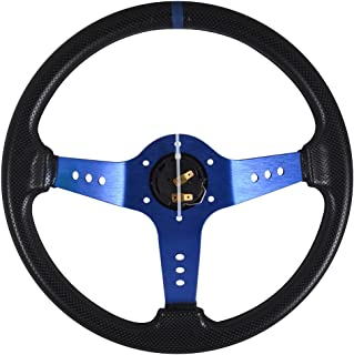 Universal Fitment 350MM PVC Steering Wheel Deep Dish Blue Spoke Black Horn Button & Black Emblem by IKON MOTORSPORTS
