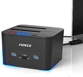 FIDECO Docking Station, USB 3.0 Base de Conexión para Ordenador con Doble SATA para Discos de 2.5