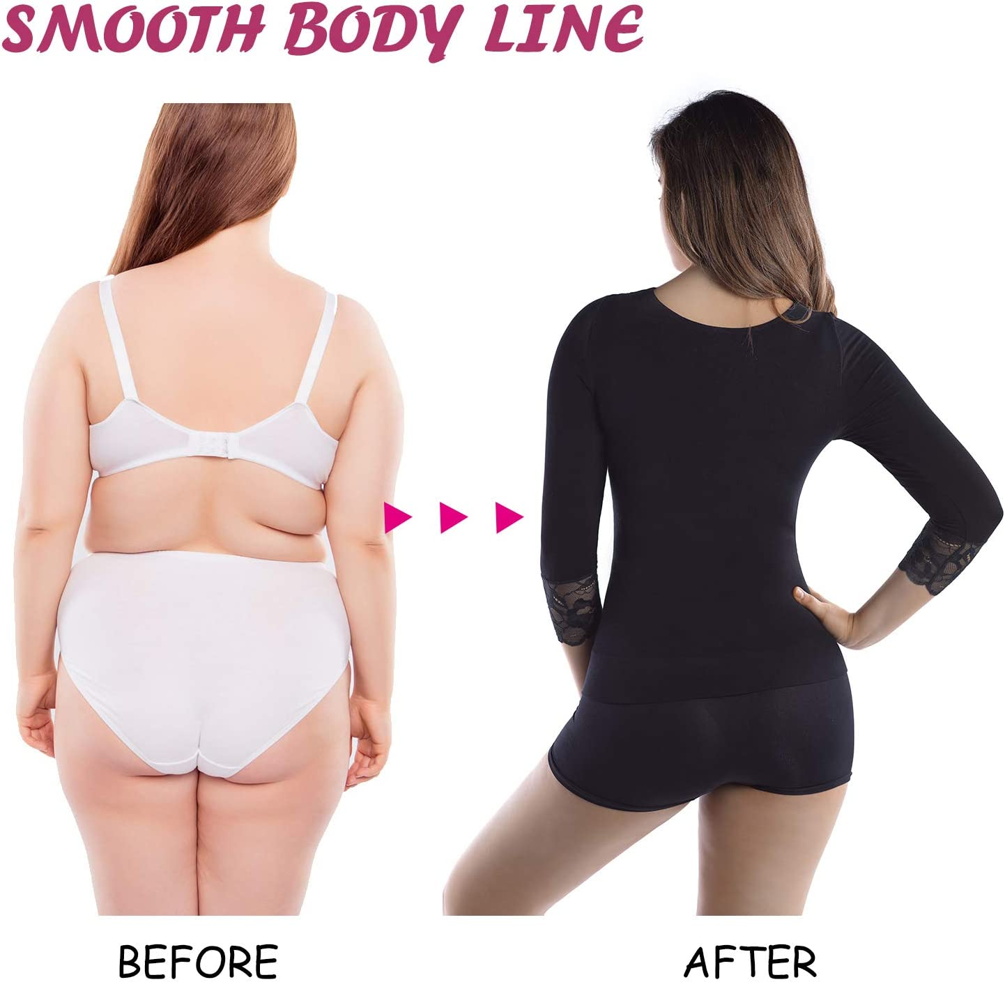 MD Womens Cool Compression Slimming Shirt IdealForSports TummyBust Lace Trim