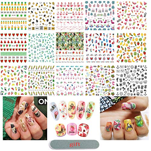 Summer Nail Art Stickers Self-Adhesive Stickers Flamingo Cactus Fruits Ocean Leaves Decals for Women Girls Kids Manicure DIY or Nail Salon, 15 Sheets