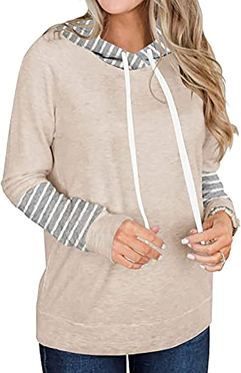 Striped Shirt Women Long Sleeve Blouse College Hoodies Color Block Tops Basic Casual Tunic