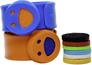 Kids Diffuser Bracelets - Set of 2 Essential Oil Bracelets with 8 Refill Pads - Aromatherapy Bug Insect Mosquito Repellent for Boys and Girls (Blue, Orange)