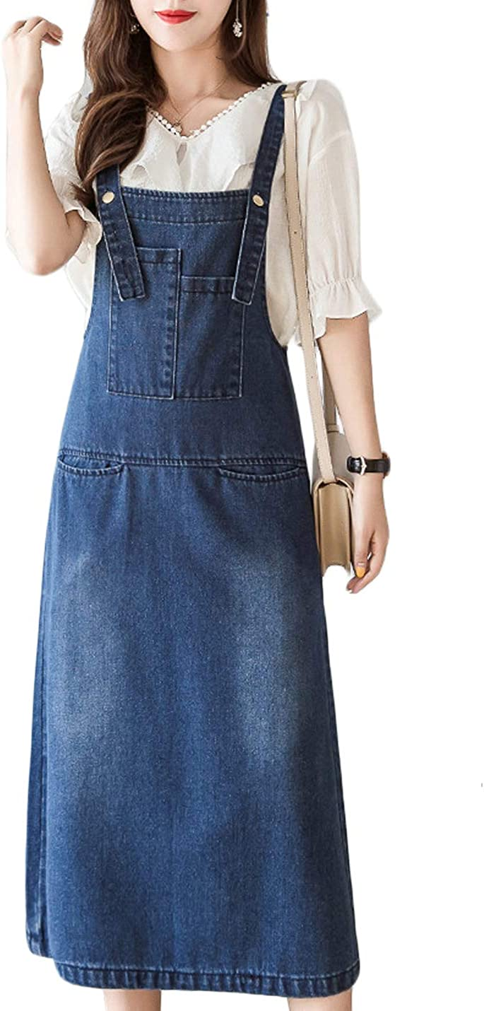 Jenkoon Women's Casual Plus Size Pinafore Denim Overall Bib Jean Dress