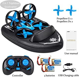 Amazingbuy 3 in 1 Mini Drone for Kids and Beginners RC Nano Quadcopter Amazingbuy Water Racing Boat Hovercraft Land Mode RC Drone 360° Flips Headless Toys for Kids Gift [3 Batteries Included]