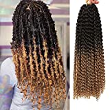 7 Packs Passion Twist Hair for Butterfly Locs 18 Inch Water Wave Passion Twist Crochet Hair Synthetic Long Bohemian Ombre Braiding Hair Hair Extensions (18'7Pcs-T1B/27)