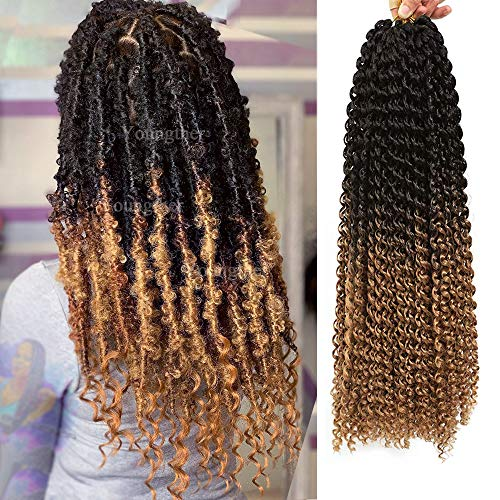 7 Packs Passion Twist Hair for Butterfly Locs Crochet Hair 18 inch Water Wave Passion Twist Crochet Hair Synthetic Long Bohemian Ombre Braiding Hair Gifts for Women (18'7Pcs-T1B/27)