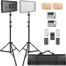 SAMTIAN LED luz Video Kit con Soporte LED Panel Set Kit de Iluminación Incluye 240pcs 3200 / 5600K Beads para fotografía de Estudio Youtube,Video Shooting