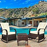 SCYL Color Your Life Indoor & Outdoor PE Wicker Rocking Chair Porch Garden Lawn Deck Auto Adjustable Rattan Reclining Chair Patio Furniture w/Water-Proof Cushion and Coffee Table(Beige)