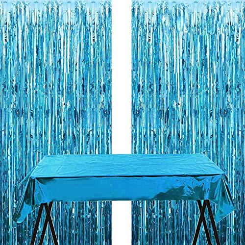 Blau Metallic Tinsel Vorhänge,2 Stück Folie Fringe Shimmer Vorhang+Decorative Tischdecke,Quaste Folie Vorhang Metallic,Folie Fransen Vorhänge Tür,Party Dekoration Geburtstag für Halloween, Weihnachten
