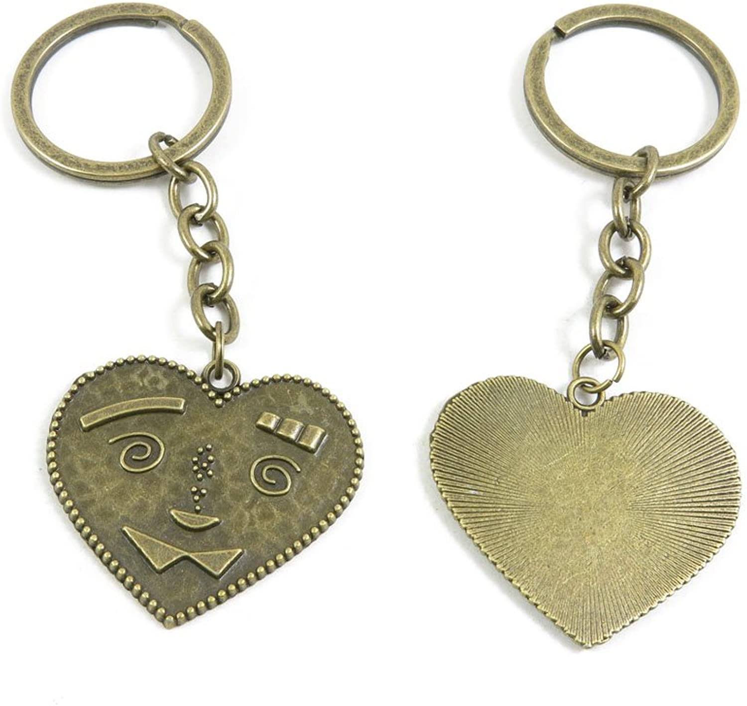 100 Pieces Fashion Jewelry Keyring Keychain Door Car Key Tag Ring Chain Supplier Supply Wholesale Bulk Lots F6HP3 Cartoon Heart Face