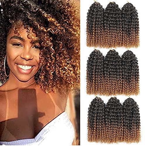 8 Inch Short Marlybob Crochet Hair 9 Bundles/Lot Afro Kinky Curly Crochet Braids Ombre Braiding Hair Synthetic Hair Extension for Black Women (1B/27#)