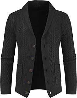 Jmsc Mens Shawl Collar Button Knitted Cardigan Classic Sweater with Pocket Autumn Winter Warm Soft Comfortable Knit Cardig...